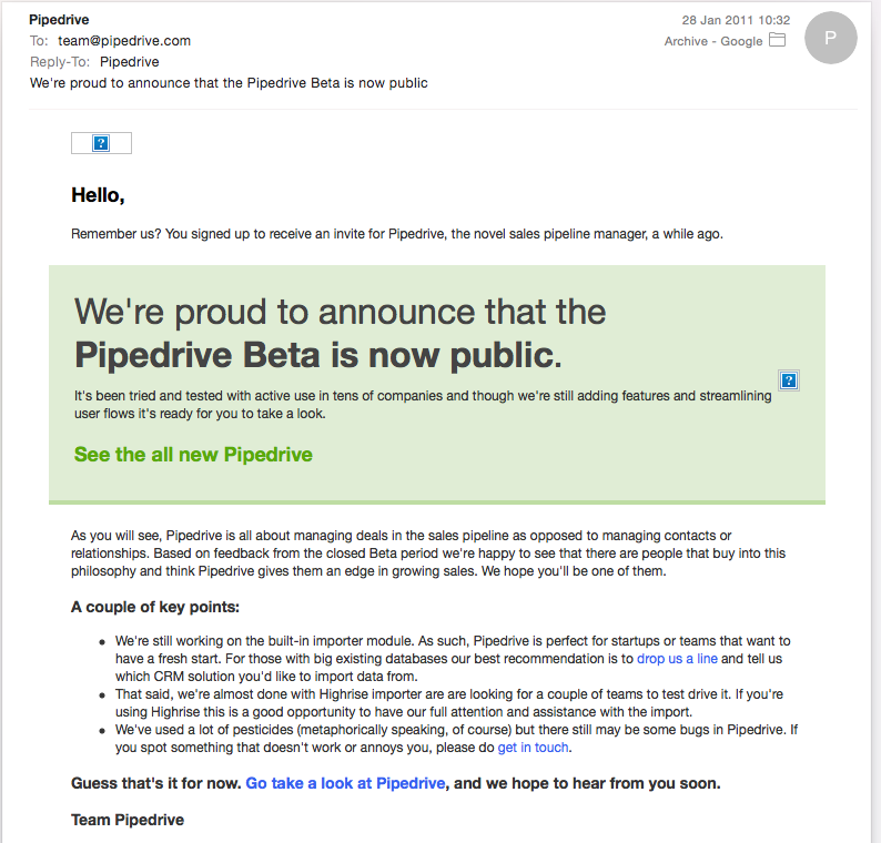 Pipedrive first beta email